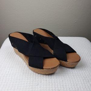 Sonoma Black Studded Wedge Sandals Size 8M